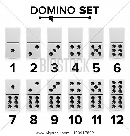 Domino Set Vector Realistic Illustration. White Color. Dominoes Bones Isolated On White.