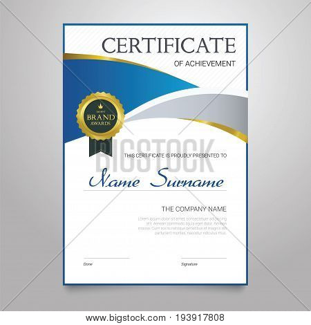 Certificate - modern vertical elegant vector document with luxury design. Diploma of achievement, appreciation with copy space for name, surname, company information. Congratulate a graduate, winner.