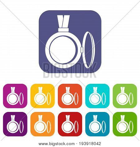 Medallion icons set vector illustration in flat style In colors red, blue, green and other