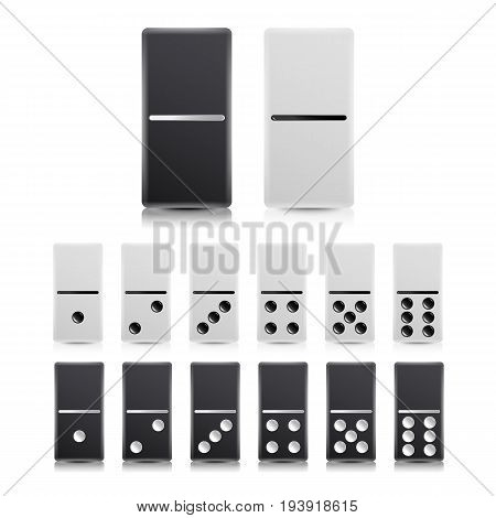 Domino Set Vector. Black And White Illustration. Realistic Dominoes Collection Isolated