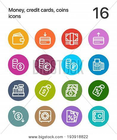 Colorful Money, credit cards, coins icons for web and mobile design pack 2