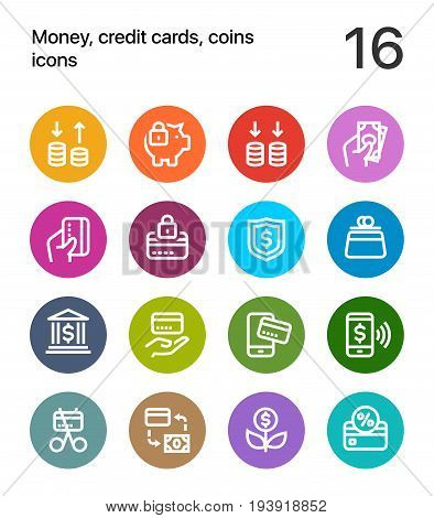 Colorful Money, credit cards, coins icons for web and mobile design pack 3