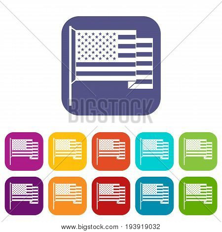 American flag icons set vector illustration in flat style In colors red, blue, green and other