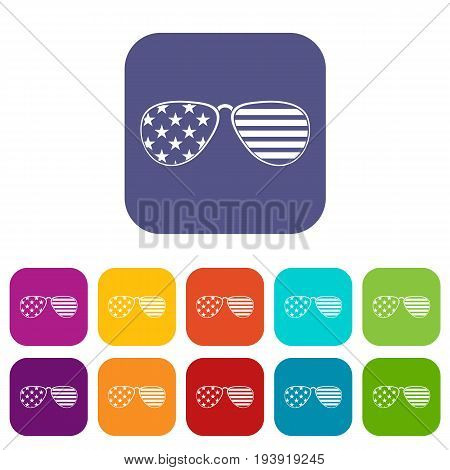 American glasses icons set vector illustration in flat style In colors red, blue, green and other