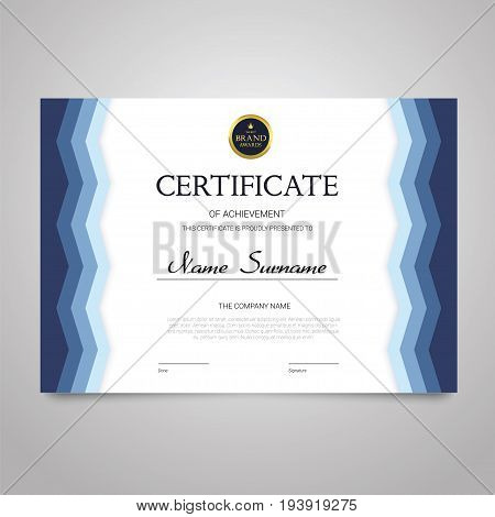 Certificate - modern horizontal elegant vector document with luxury design. Diploma of achievement, appreciation with copy space for name, surname, company information. Congratulate a graduate, winner.