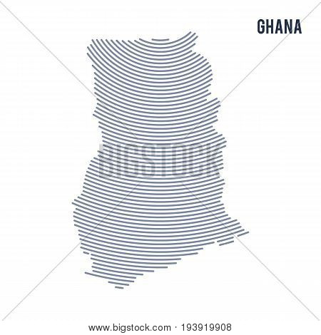 Vector Abstract Hatched Map Of Ghana With Curve Lines Isolated On A White Background.