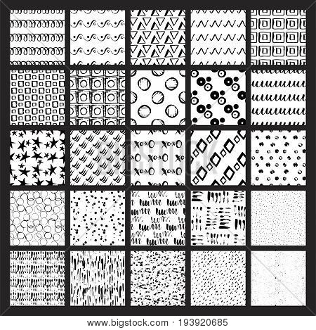 Big bundle of 50 vector hand drawn seamless textures. Grunge styled, ultimate hand drawn with ink and then digitized into vector.