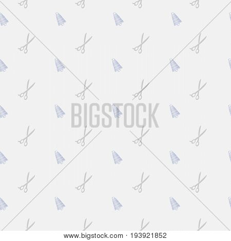 Vector logo template for sewing studio or tailor. Gray scissors and blue spools of thread. Can be used for print on clothes, package, banner, wrapping paper. EPS10.