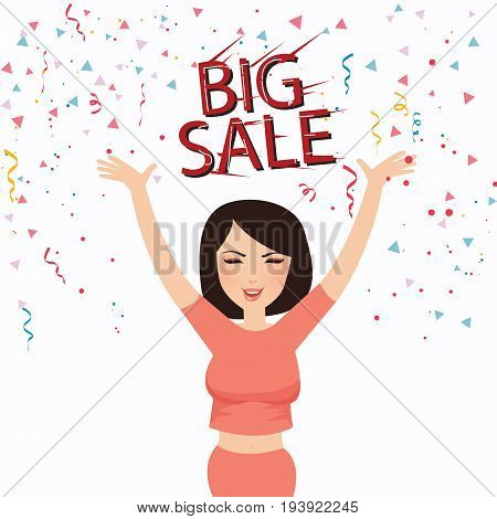 woman happy big sale text face smile celebrate shopper vector