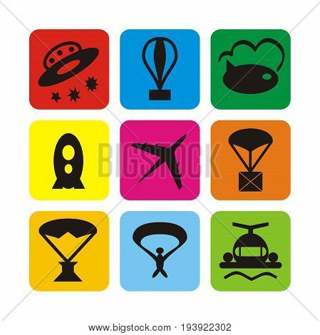 Illustration set of icons of air transport for passengers, air transport, mail and entertainment