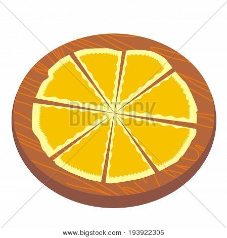 Illustration of a cheese pizza cut into slices, on a wooden backing