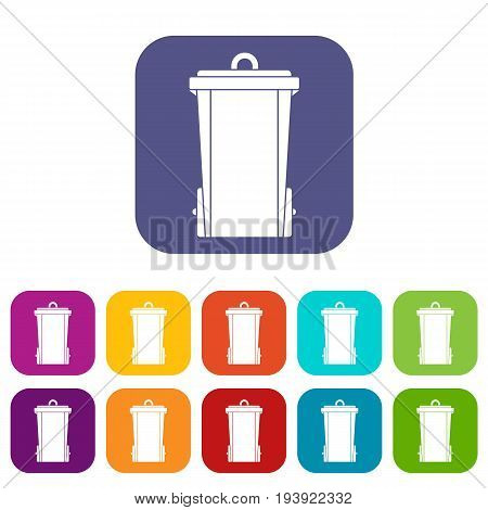 Garbage bin icons set vector illustration in flat style In colors red, blue, green and other