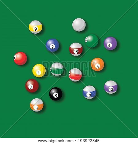 billiard balls pool in green table vector drawing illustration