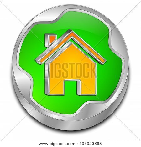 green orange Home Button - 3D illustration