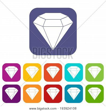 Brilliant gemstone icons set vector illustration in flat style In colors red, blue, green and other