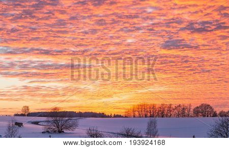 Winter Landscape With Sunset In Rhineland-palatinate Germany