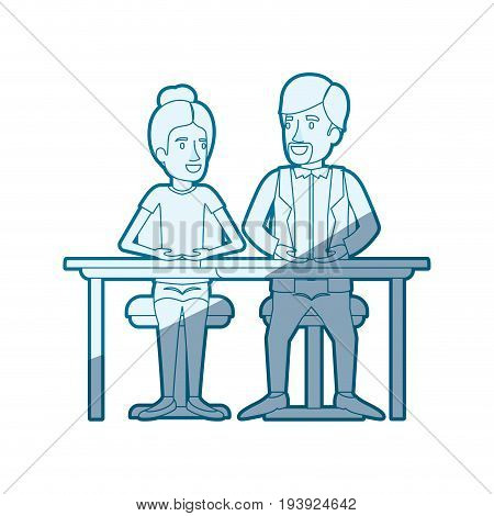 blue shading silhouette of teamwork of woman and man sitting in desk and her with collected hair and him in casual clothes with van dyke beard vector illustration