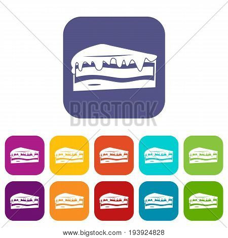 Cake icons set vector illustration in flat style In colors red, blue, green and other