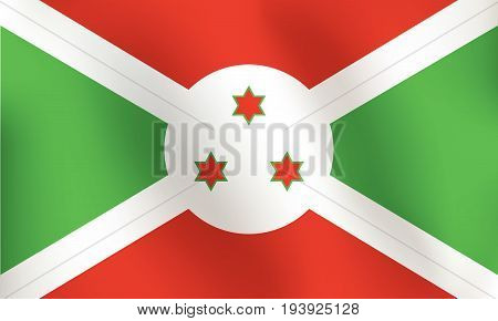 Flag of Burundi with a little Waving Shading & Flag Colors separated layers - Vector Illustration