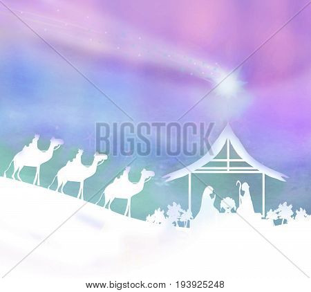Birth of Jesus in Bethlehem abstract card , raster