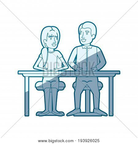 blue shading silhouette of teamwork of woman and man sitting in desk and her with ponytail hairstyle and him in casual clothes vector illustration