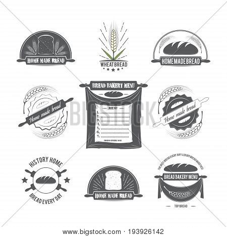 Set of logos. Logos with the image of bread and wheat. Vector illustration on bread baking bread ears restaurants and menus.