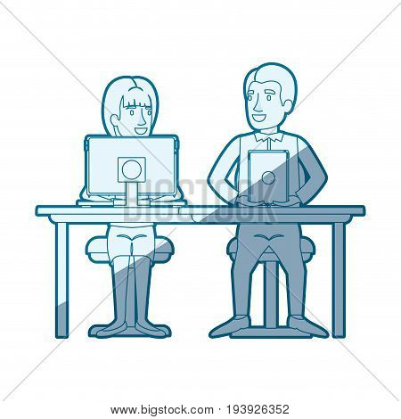 blue shading silhouette of teamwork of woman and man sitting in desk with tech devices and her with ponytail hairstyle and him in casual clothes vector illustration