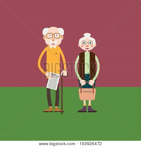 Elderly couple - grandfather and grandmother or just an old man and old woman stand together.