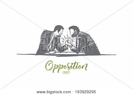 Opposition concept. Hand drawn two men compete. Persons conquering isolated vector illustration.