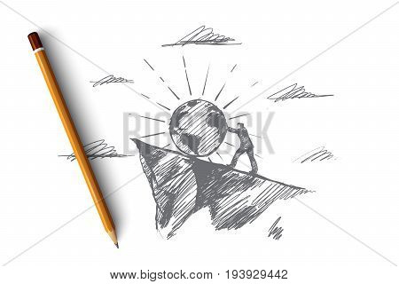 Planet concept. Hand drawn symbol of planet and man pushing it up. confident male pilot. Human-environment interaction isolated vector illustration.