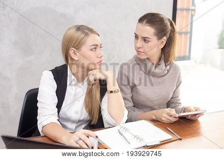 Young Woman Looking Face And Feeling Unhappy With Each Other, Buseness Competitor Concept.