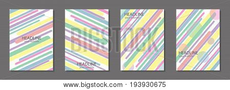 Design template for brochure cover poster textbook schoolbook notebook notepad etc. Simple colorful shapes. Set. Vector illustration.