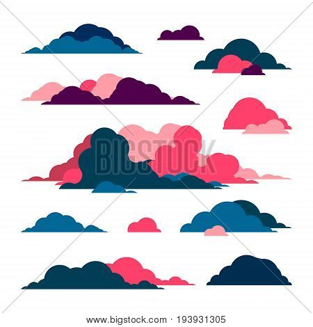 Multi-colored red and blue clouds. Set of vector icons painted in a flat modern style depicting. These icons are for web art and app design as well as for weather forecasts.