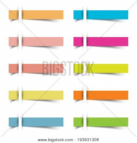 10 Colorful Blank Sharp Rectangles Sticky Notes. They Are Inserted To A White Paper With Shadow Beneath The Sheets. Useful For Business Memorandum Education And Other Notifications On A Board.