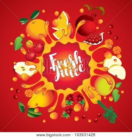 Vector banner with inscription fresh juice. Various fruits and berries arranged in a circle and squirt juice on red background