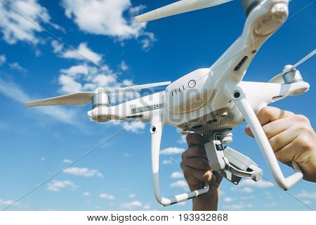 copter registration number plate drone sky background