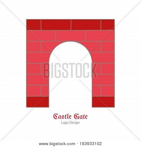 Medieval castle brick gate. Single logo in modern flat thin line style isolated on white background. Colorful medieval theme symbol. Simple medieval pictogram logotype template. Vector illustration.