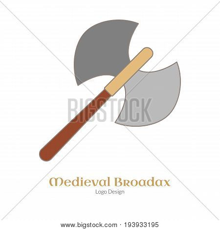 Medieval guard double axe broadax. Single logo in flat thin line style isolated on white background. Colorful medieval theme symbol. Simple medieval pictogram logotype template. Vector illustration