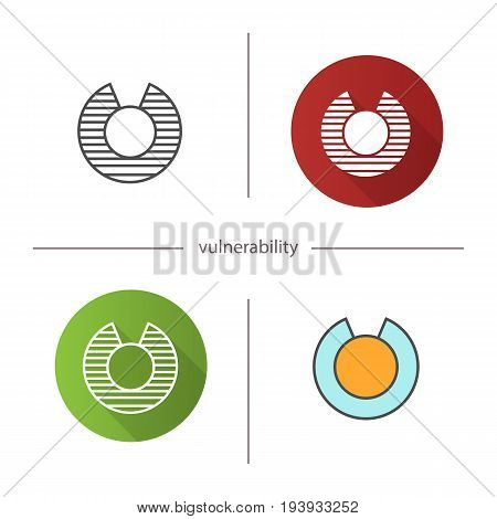 Vulnerability icon. Flat design, linear and color styles. Isolated vector illustrations