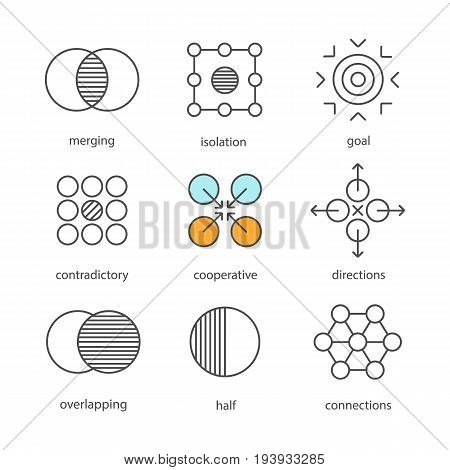 Abstract symbols linear icons set. Merging, isolation, goal, contradictory, cooperative, directions, overlapping, half, connections. Thin line contour symbols. Isolated vector outline illustrations