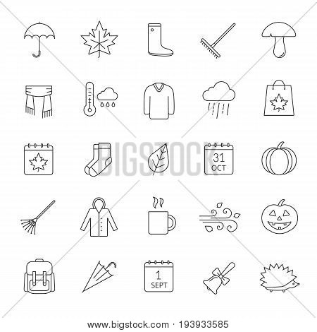 Autumn linear icons set. September 1 and October 31. Warm clothes, autumn sale, leaves, umbrella, calendar, rake, sale, rainy weather. Thin line contour symbols. Isolated vector outline illustrations