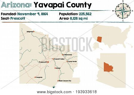 Large and detailed map of Yavapai county in Arizona