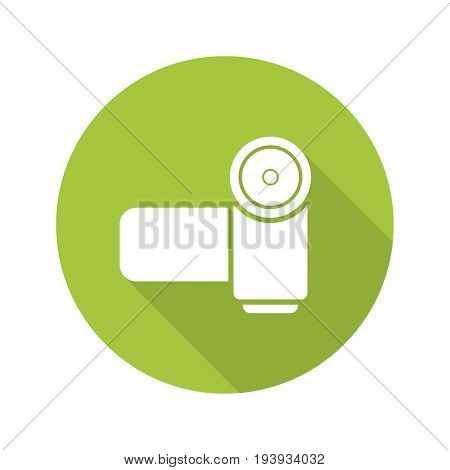 Video camera flat design long shadow glyph icon. Vector silhouette illustration