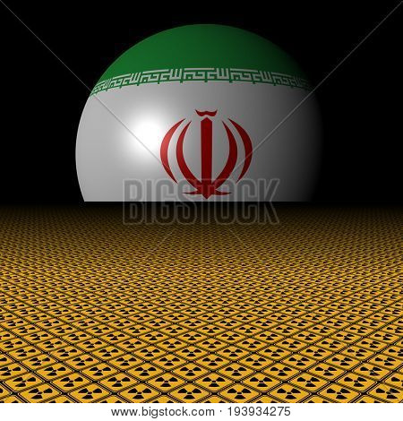 Iran flag sphere and radioactive warning signs 3d illustration