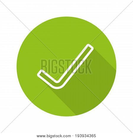 Tick flat linear long shadow icon. Confirmation check mark. Accept and approve sign. Vector outline symbol