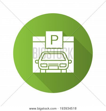 Parking place flat design long shadow glyph icon. Auto shed. Car garage with P sign. Vector silhouette illustration