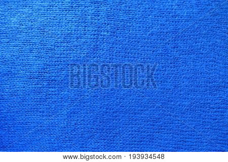 Bright Blue Handmade Stockinette Fabric Fron Above