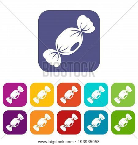 Small candy icons set vector illustration in flat style In colors red, blue, green and other