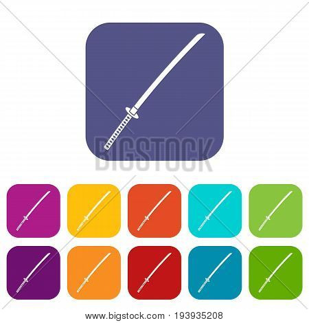 Japanese katana icons set vector illustration in flat style In colors red, blue, green and other