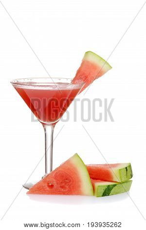 watermelon martini with slices of fruit on white
